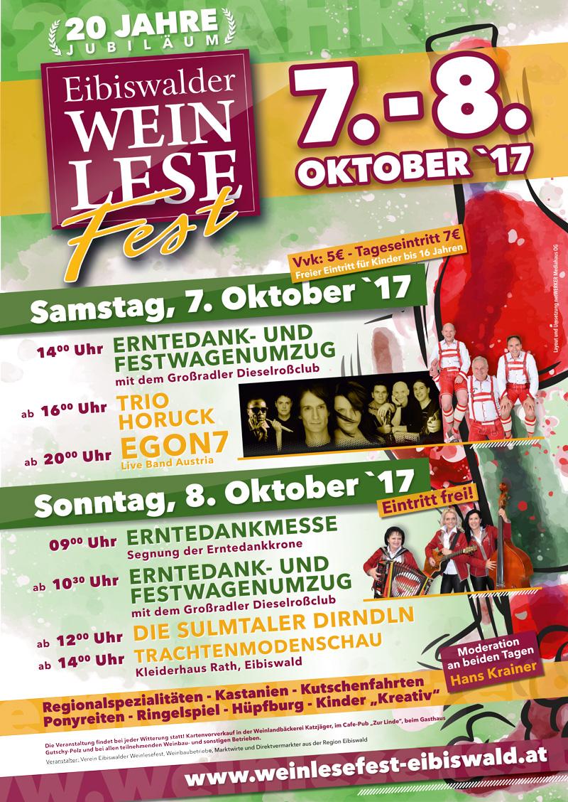 Plakat Eibiswalder Weinlesefest am 7. und 8. Oktober 2017